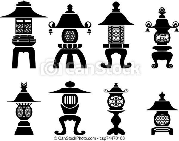 Set of traditional Japanese decorative lanterns - csp74470188