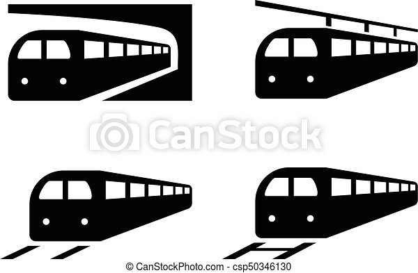 Set of train icons in silhouette style, vector - csp50346130