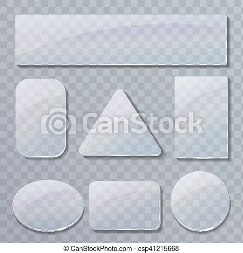 Set of transparent glass plates in different shapes - csp41215668