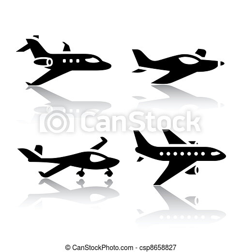 Set of transport icons - airplane - csp8658827