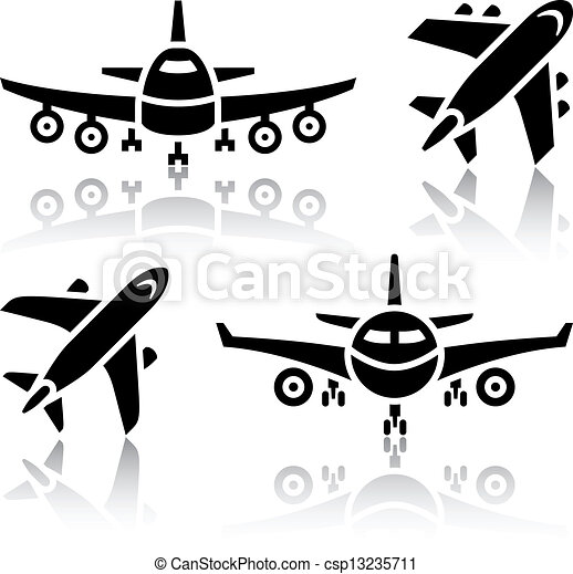 Set of transport icons - Plane - csp13235711