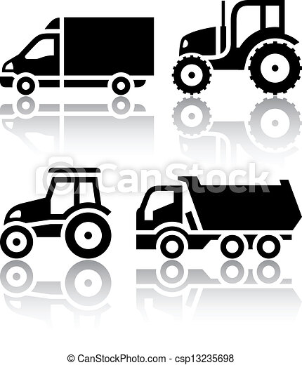 Set of transport icons - Tractor and Tipper - csp13235698