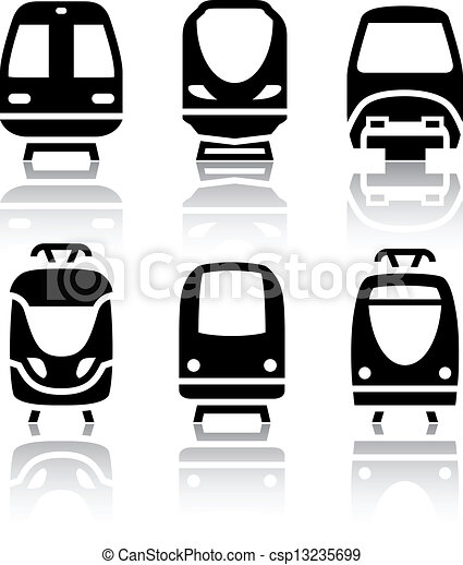 Set of transport icons - Train and Tram - csp13235699