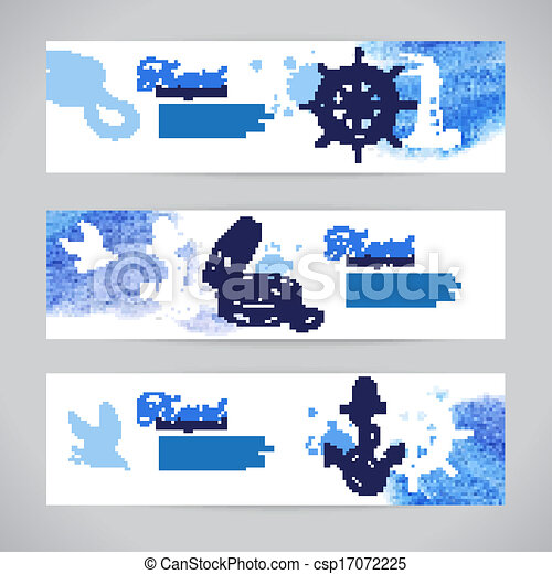 Set of travel banners. Sea nautical design. Hand drawn sketch and watercolor illustrations - csp17072225
