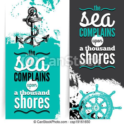 Set of travel grunge banners. Sea nautical design. Hand drawn textured sketch illustrations. Typographic design - csp19161650