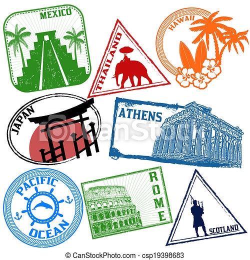 Set of travel stamps - csp19398683