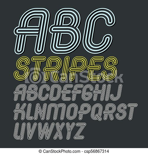 Set of trendy modern vector capital alphabet letters isolated  Disco  cursive font for use as business poster design elements  Created using  geometric