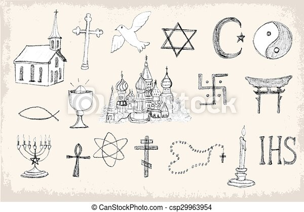 Set of trendy vector religion elements - csp29963954