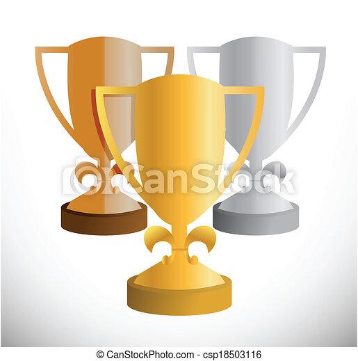 set of trophies illustration design - csp18503116