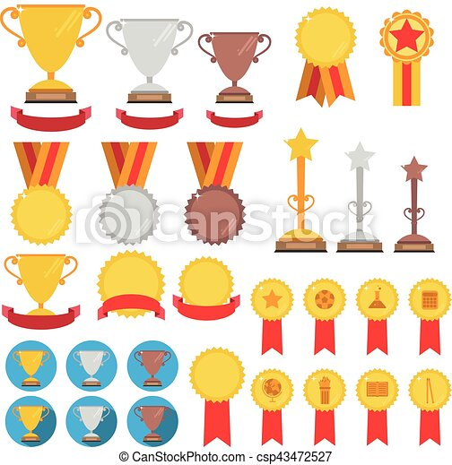 Set of trophies, medals, icons adn ribbons for winners in competitions
