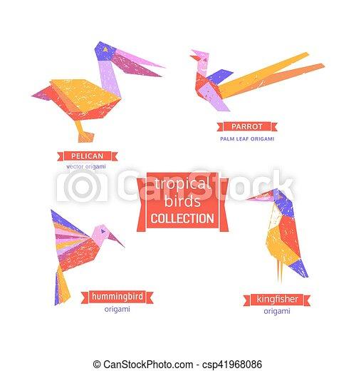 Set of tropical bird  icons. - csp41968086