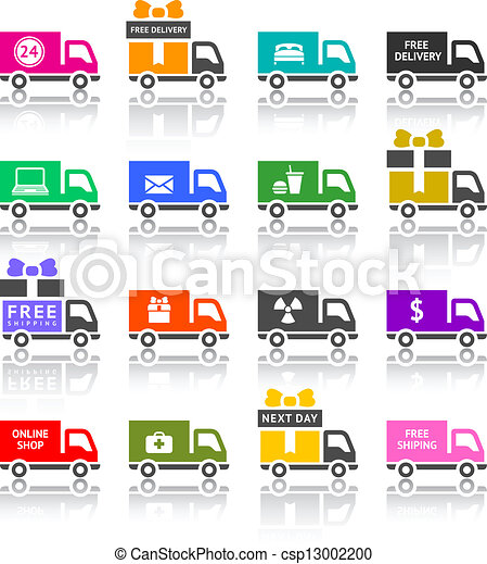 Set of truck colored icons - csp13002200