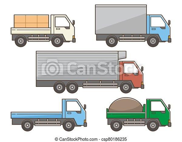 Set of Truck illustration on white background - csp80186235