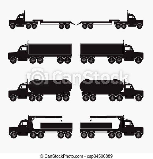 Set of truck trailer black icons. Vector illustration. - csp34500889