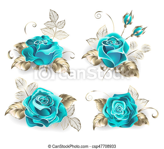set of turquoise roses with leaves of white gold on a