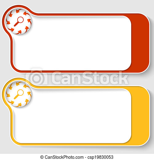 set of two abstract text boxes with arrows and magnifier - csp19830053
