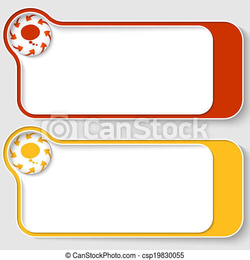 set of two abstract text boxes with arrows and speech bubble - csp19830055