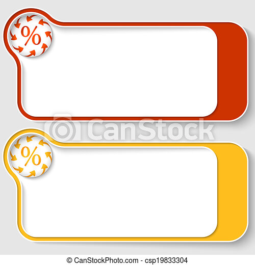 set of two abstract text boxes with arrows and percent sign - csp19833304