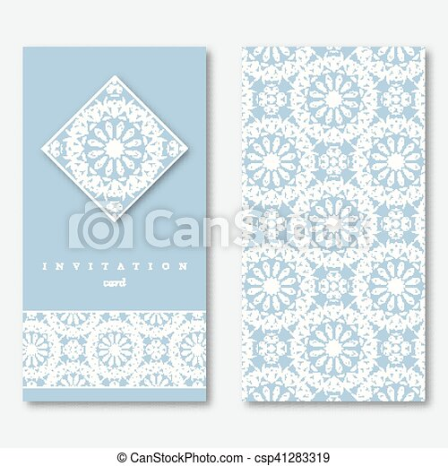 Set of two cards template for greeting invitation wedding cards set of two cards template for greeting invitation wedding cards hand drawn mandala pattern vintage oriental style asian indian arabic islamic stopboris Images