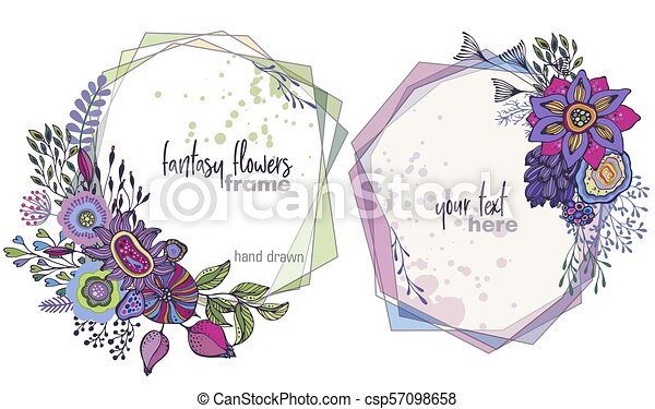 Set of two colorful vector floral frames with bouquets of fansy ...