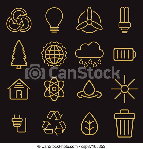 Set of universal modern thin line Ecology icons for web and mobile - csp37188353