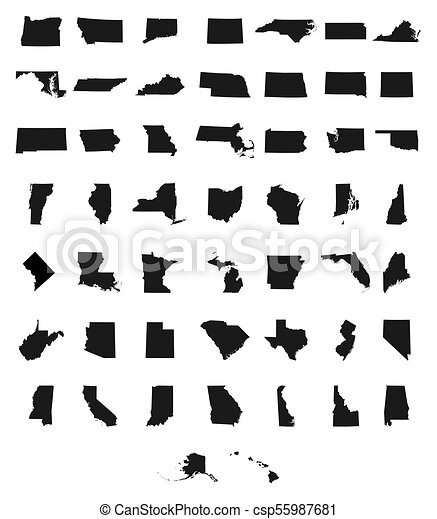 Set of us states maps Set of us states map on a white vector
