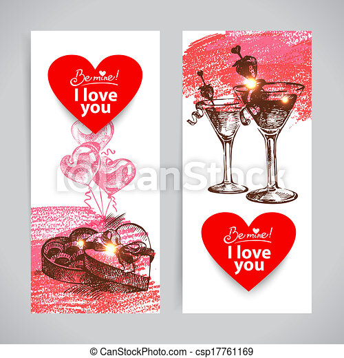 Set Of Valentine S Day Banners Hand Drawn Illustrations