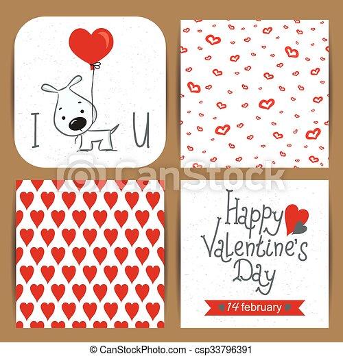 Set of Valentine's Day cards - csp33796391