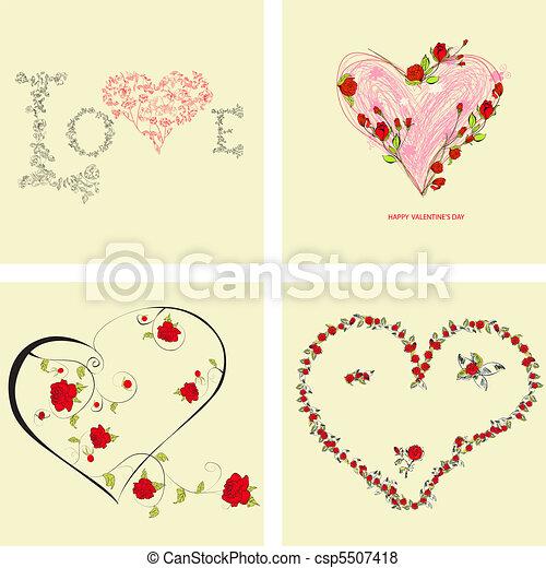 Set of Valentine's day cards  - csp5507418
