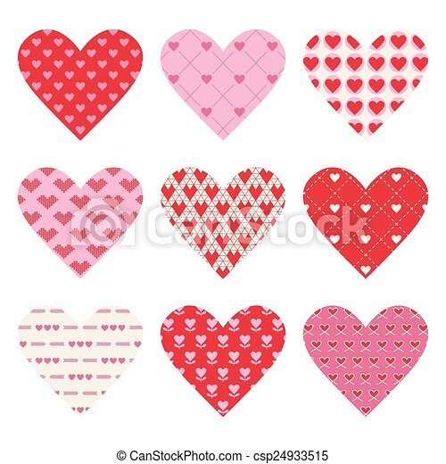 Set of Valentine's Day Hearts - in vector - csp24933515