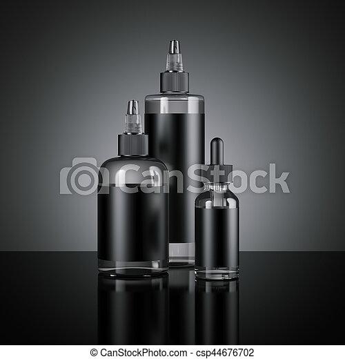 Set of vape juice bottles with black labels  3d rendering