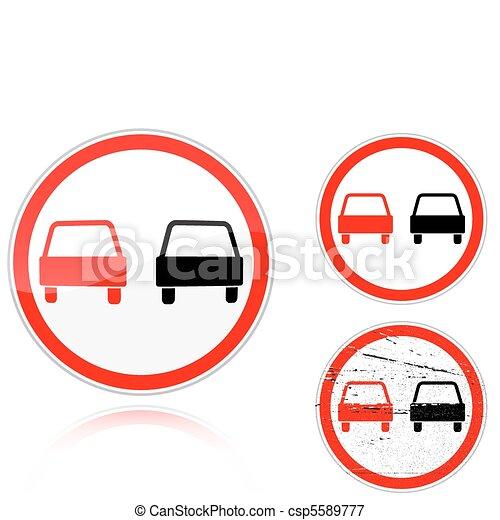 Set of variants a No passing - road sign - csp5589777