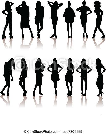 set of various beautiful model girl - csp7305859