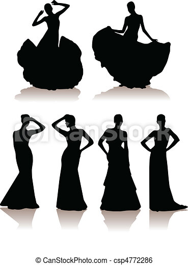 set of various beautiful model girls in dress. - csp4772286
