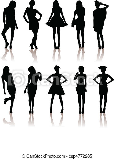 set of various beautiful model girls in dress. - csp4772285