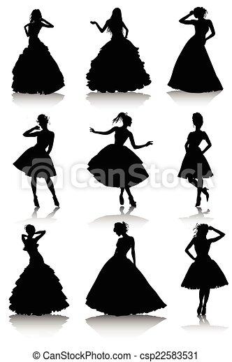 Set of various beautiful model girls in dress - csp22583531