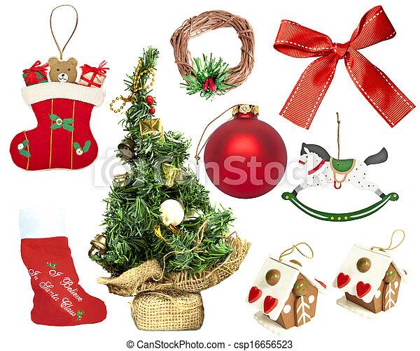 Set of various Christmas ornaments - csp16656523