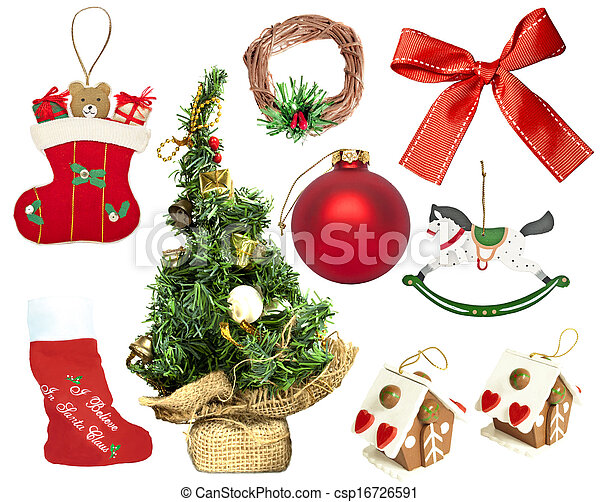 Set of various Christmas ornaments - csp16726591