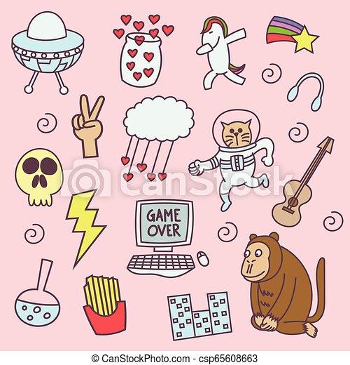 Set of various doodles - csp65608663