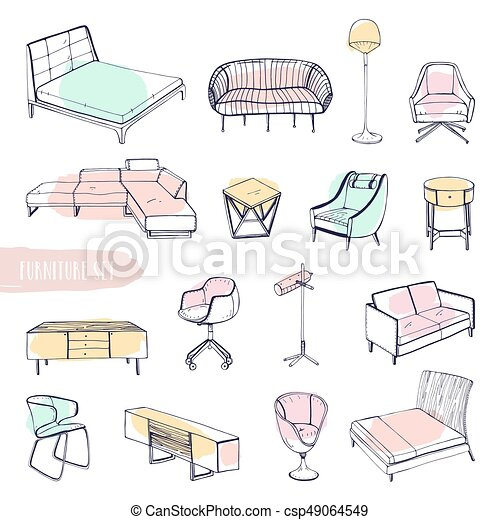 Hand Drawn Different Types Sofas, Chairs And Armchairs, Bedside Tables,