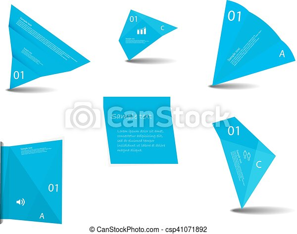 Set of various graphic elements with blue color - csp41071892