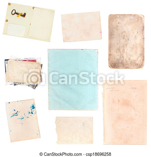 set of various old paper sheets and pictures - csp18696258