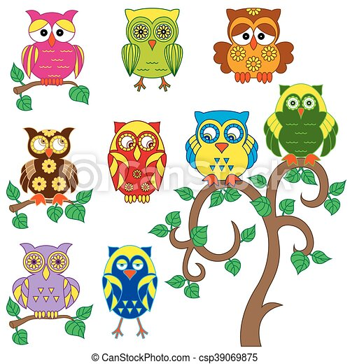 Set of various ornamental colorful owls - csp39069875