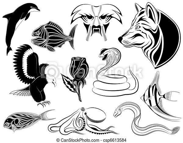 Line Art Animals Tattoo : Set of various tattoos with animals birds fishes and a flower