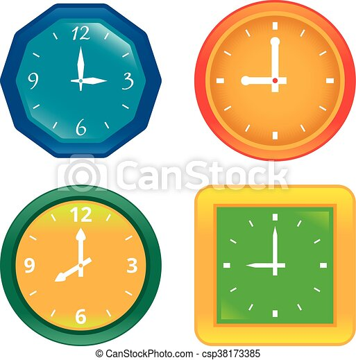 set of various vector clocks showing different time vector search rh canstockphoto com