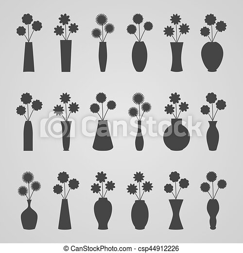 Set of vases with flowers, vector illustration - csp44912226
