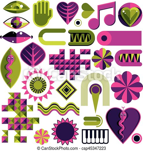 Set Of Vector Abstract Art Symbols Different Modern Style Graphic