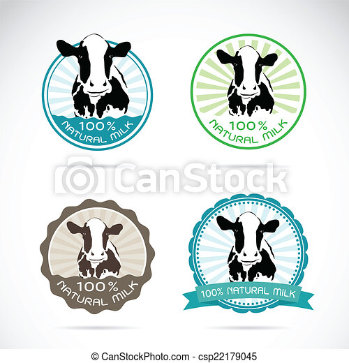 Set of vector an dairy cows label - csp22179045