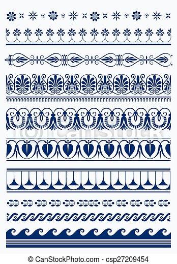 Set of vector antique greek borders - csp27209454