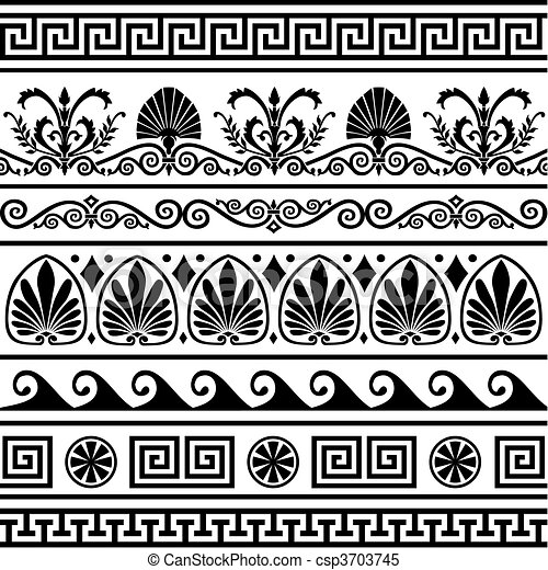 Set of vector antique greek borders - csp3703745